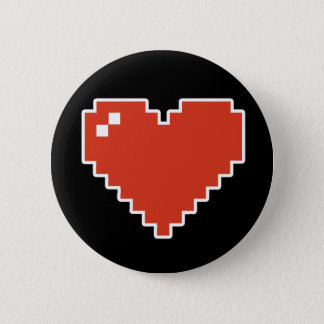 8bit Heart Full 2 Inch Round Button