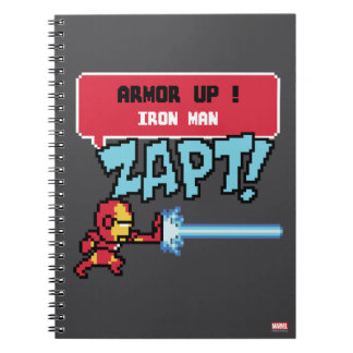 8Bit Iron Man Attack - Armor Up! Note Books
