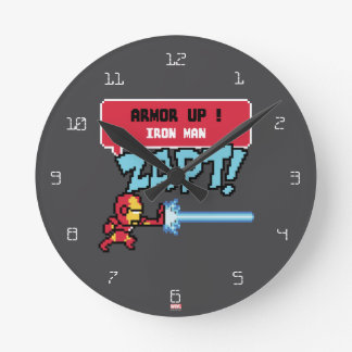 8Bit Iron Man Attack - Armor Up! Wall Clocks
