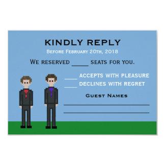 8bit Pixel Gamer Groom & Groom Wedding Card
