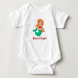 8Bit Pixel Geek Mermaid Custom Baby Bodysuit
