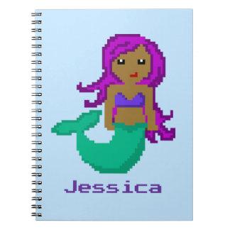 8Bit Pixel Geek Mermaid Custom - Dark Skin Notebook
