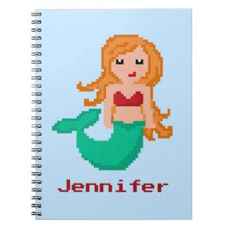 8Bit Pixel Geek Mermaid Custom Notebooks