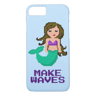 8Bit Pixel Geek Mermaid with Brown Hair iPhone 8/7 Case