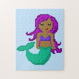 8Bit Pixel Geek Ocean Mermaid - Dark Skin Puzzle