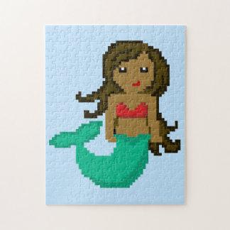 8Bit Pixel Geek Ocean Mermaid - Dark Skin Puzzles