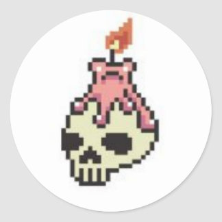 8bit skull candle round sticker