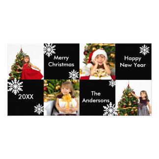 8H Squares Black White Snow - Christmas Photo Card