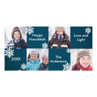 8H Squares Blue Snow - Hanukkah Photo Card