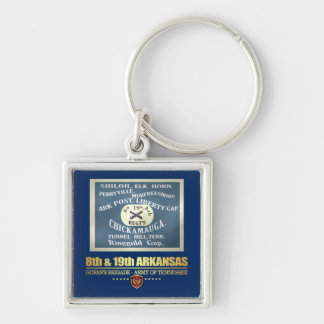 8th & 19th Arkansas Infantry (F10) Silver-Colored Square Keychain