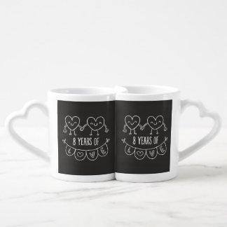 8th Anniversary Gift Chalk Hearts Coffee Mug Set