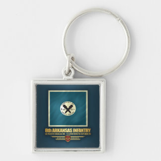 8th Arkansas Infantry Silver-Colored Square Keychain