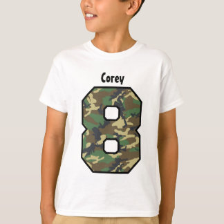8th Birthday Boy Camo Eight Year Custom Name V01C T-Shirt