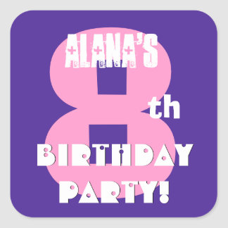 8th Birthday Custom Name Purple and Pink V05 Square Stickers