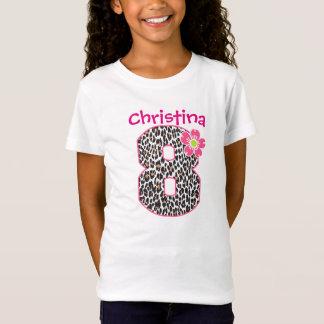 8th Birthday Girl Hot Pink & leopard print T-Shirt