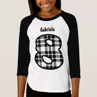 8th Birthday Girl PLAID Eight Year Custom W118 T-Shirt