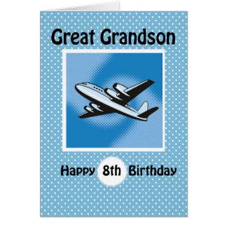 8th Birthday, Great Grandson, Airplane on Blue Card
