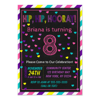 8th Birthday Invitation for a Girls Birthday Party