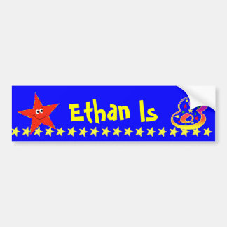 8th Birthday Party Red Smiley Star Decoration Bumper Sticker
