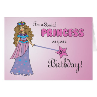 8th Birthday Pink Princess with Sparkly-Look Wand Card