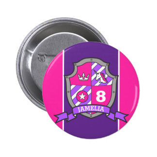 8th Birthday pink purple knights princess age pin