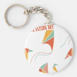 8th February - Kite Flying Day - Appreciation Day Basic Round Button Keychain