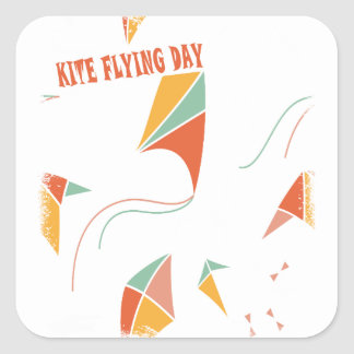 8th February - Kite Flying Day - Appreciation Day Square Sticker