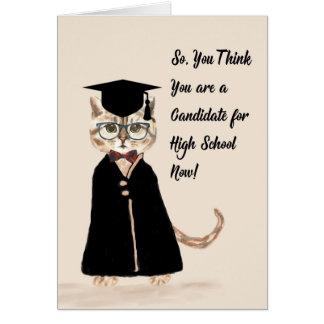 8th Grade Graduation Card, Cat, Grad Gown, Cap Card
