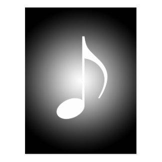 8th Note Black & White Musicians Note w/Spotlight Postcard