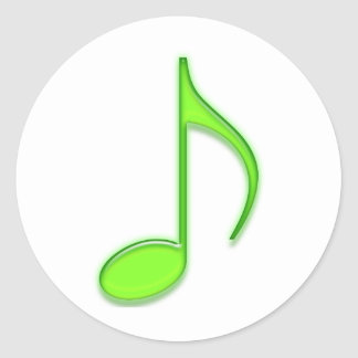 8th Note Lime Bright Glassy Green Music Note Round Sticker