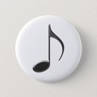 8th Note Skinney Black on Transparent Musical 2 Inch Round Button