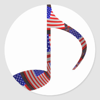 8th Note U.S. Flags Inside of Note Round Sticker