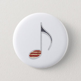 8th Note US Flag 2 Inch Round Button