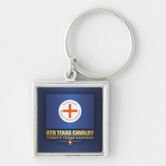 8th Texas Cavalry Silver-Colored Square Keychain