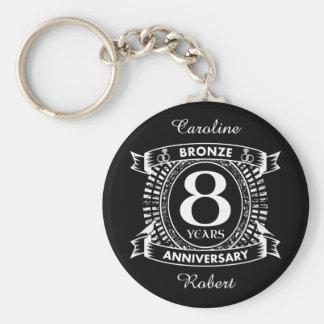 8TH wedding anniversary bronze Keychain