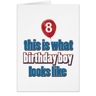 8th year birthday designs card
