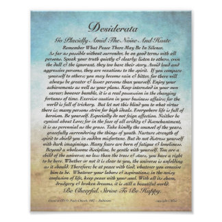 8x10 Desiderata Poem & other sizes too! Poster