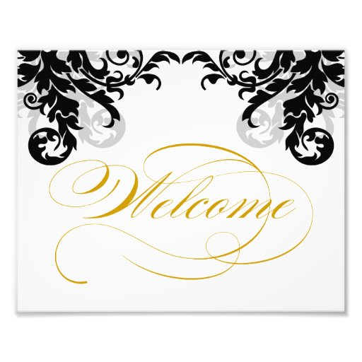 8x10 Flourish Wedding Welcome Sign for Framing Photo Art