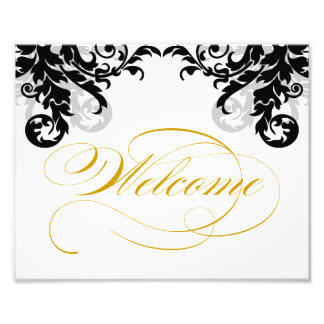 8x10 Flourish Wedding Welcome Sign for Framing Photographic Print