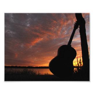 8x10 Guitar Sunset Silhouette Photo Print