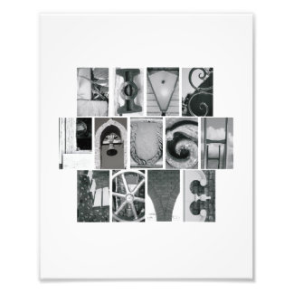8x10 Live Laugh Love Photo Alphabet  B&W Vertical