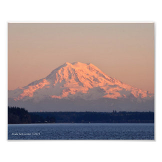 8X10 Mount Rainier Sunset Photo Print