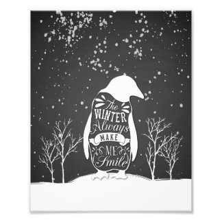 8x10 Print - Black and White Penguin Photograph