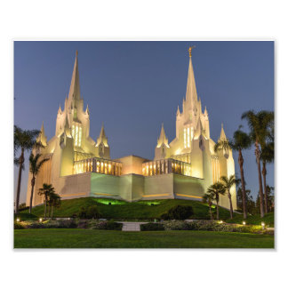 8X10 San Diego LDS Temple at Night Photo Print