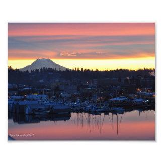 8X10 Sunrise on Mount Rainier and Puget Sound Photo
