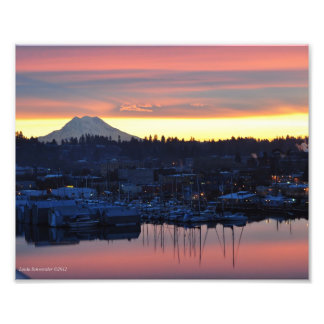 8X10 Sunrise on Mount Rainier and Puget Sound Photo Print