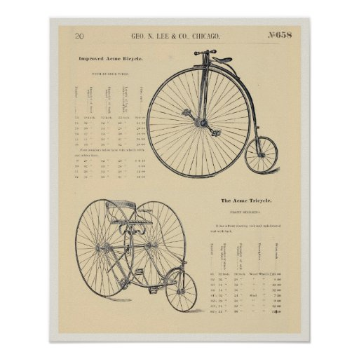 8X10 Vintage Bicycle Tricycle Catalogue Page Poster