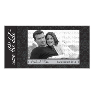 "8x4"" Baroque Black Save the Date Announcement Picture Card"