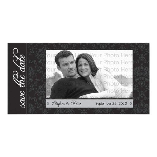 """8x4"""" Baroque Black Save the Date Announcement Picture Card"""