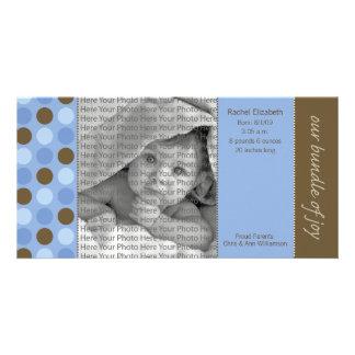 8x4 Birth Announcement Blue and Brown Polka Dots Photo Card